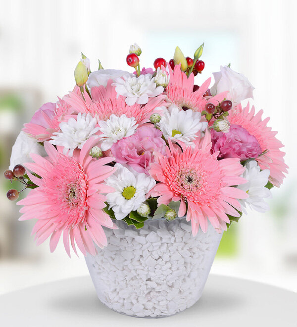 Pink Gerbera and Wildflowers