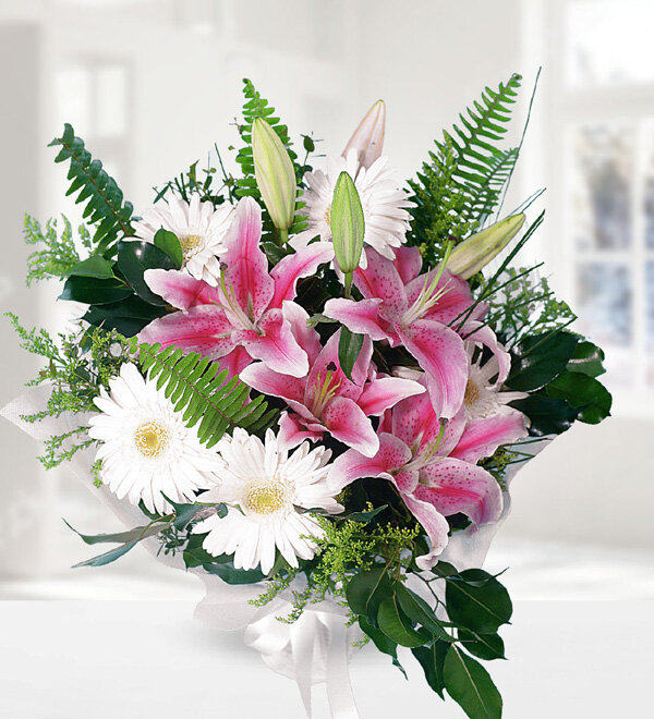 Pink Lilies and Gerbera Bouquet