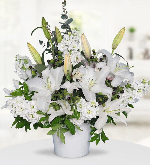 White Lilies and Gillyflowers in Ceramic Vase