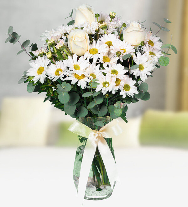 White Chrysanthemums and Roses in Vase