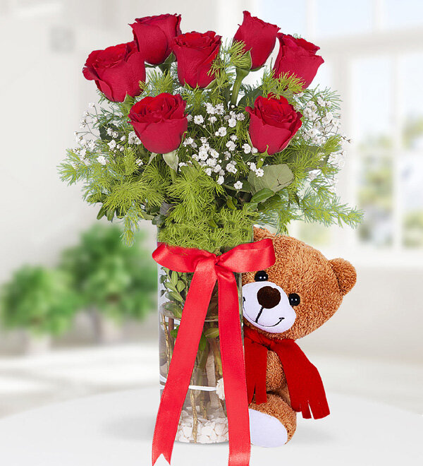 7 Red Roses and Teddy Bear in Vase
