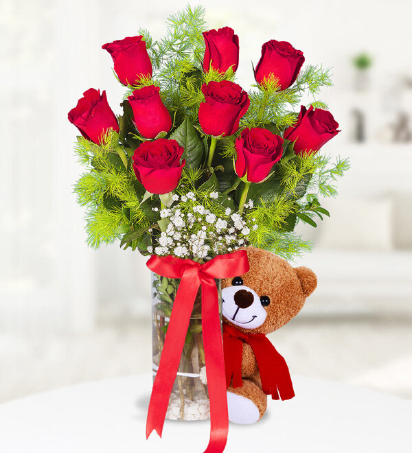 9 Red Roses in Vase and Teddy Bear