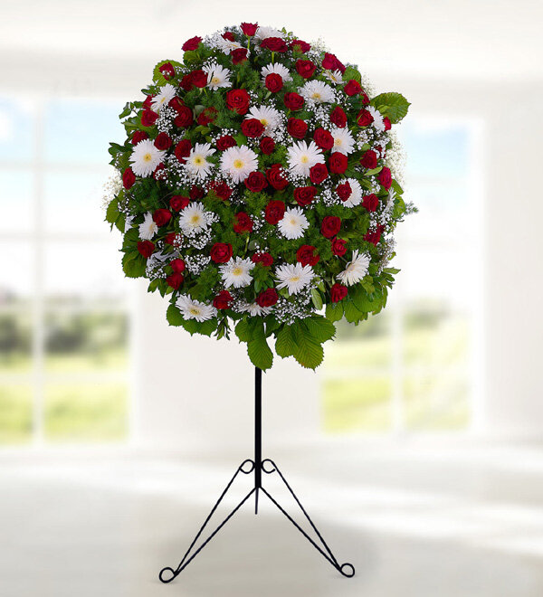 Red Rose Basket Stand